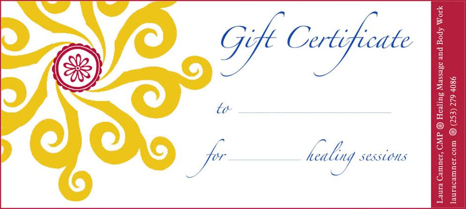 You will receive a beautiful gift certificate in the mail upon purchase. Please email massage@lauracamner.com with the address where you would like it sent.